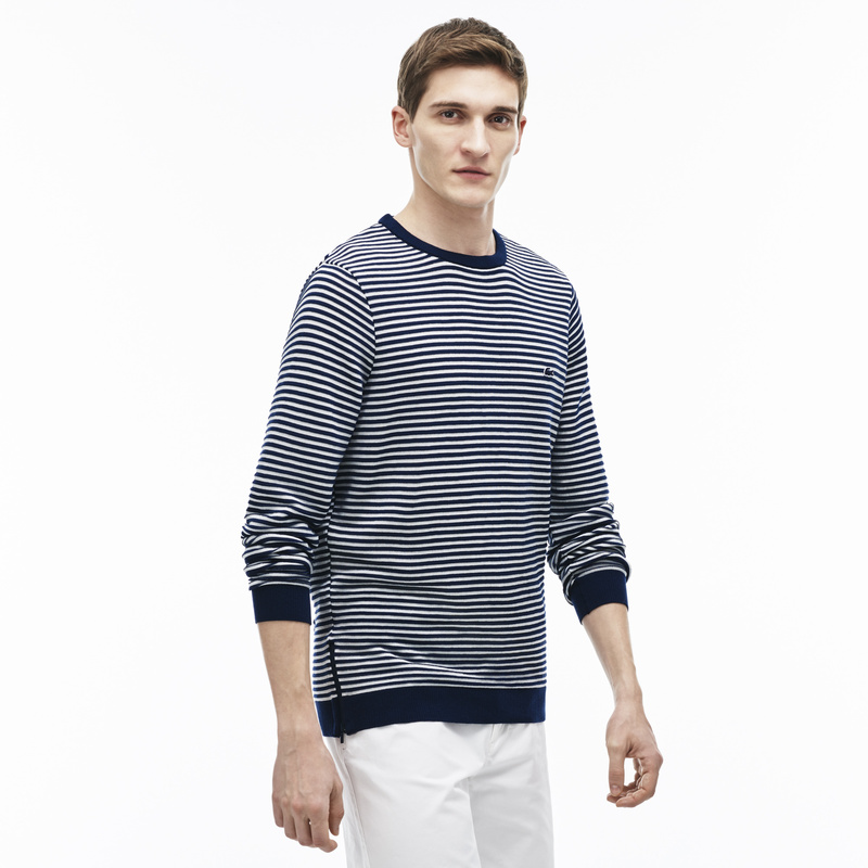 Lacoste Crew Neck Striped Cotton Ottoman Sweater with Contrast Zip AH3007