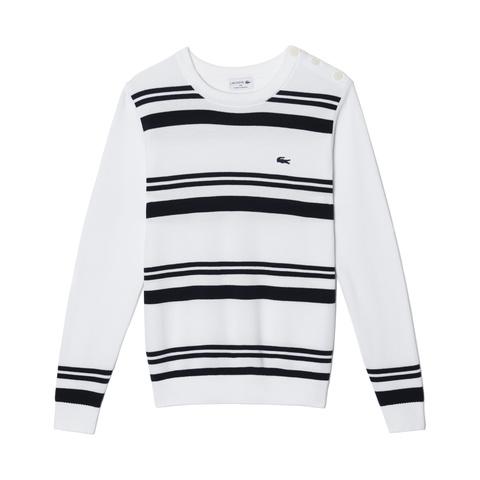 Stripe Crewneck Cotton Pique Sweater AH7899: White