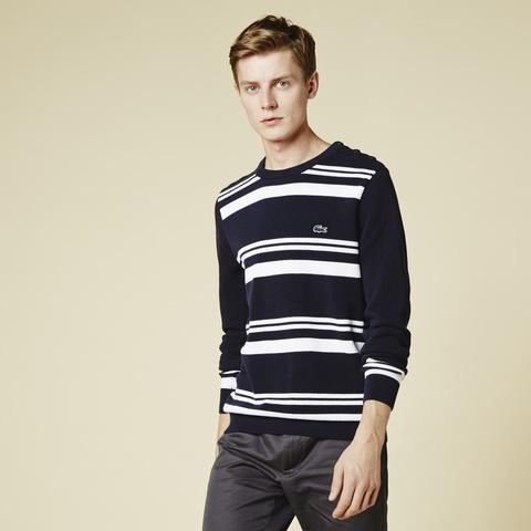 Stripe Crewneck Cotton Pique Sweater AH7899: Navy Blue