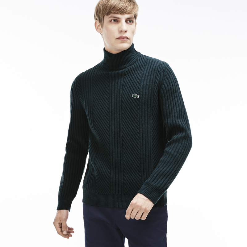 Lacoste Knit Effect Wool Crewneck Sweater AH8987: Green