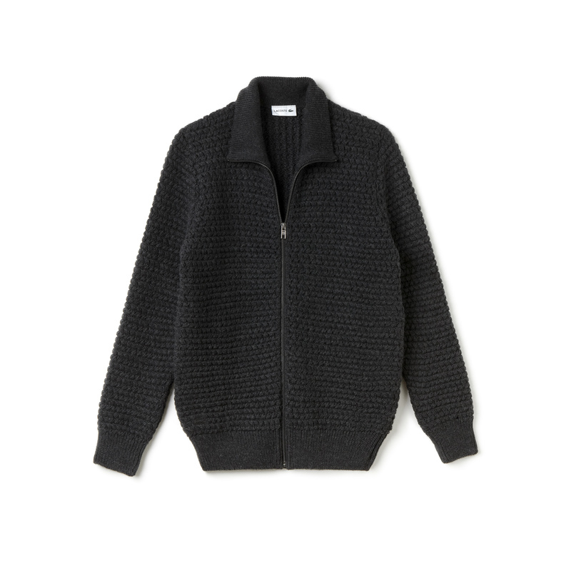 Lacoste Stand-Up Collar Zippered Thick Knit Wool Cardigan AH9186: Dark Grey
