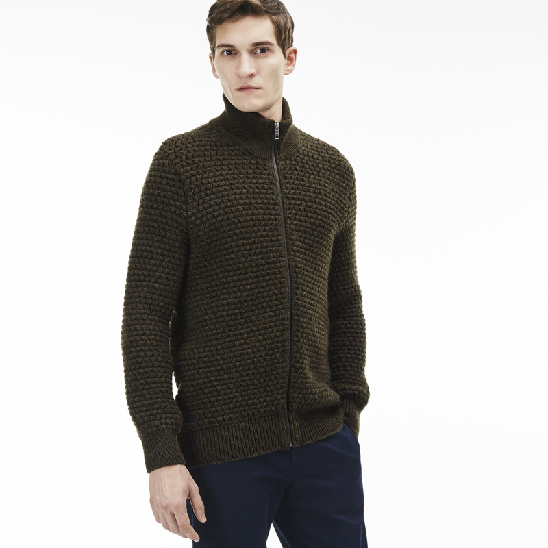 Lacoste Stand-Up Collar Zippered Thick Knit Wool Cardigan AH9186