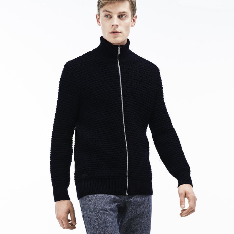 Lacoste Stand-Up Collar Zippered Thick Knit Wool Cardigan AH9186: Cosmos