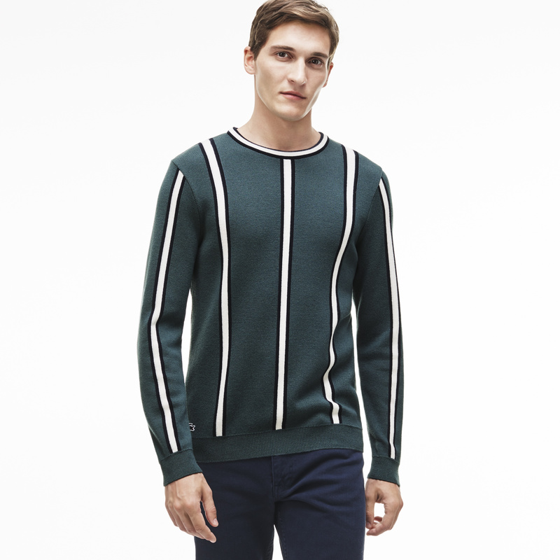 Lacoste Made in France Vertical Stripes Cotton and Wool Sweater AH9272: Green