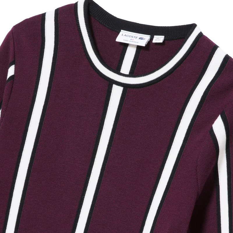 Lacoste Made in France Vertical Stripes Cotton and Wool Sweater AH9272: Burgundy