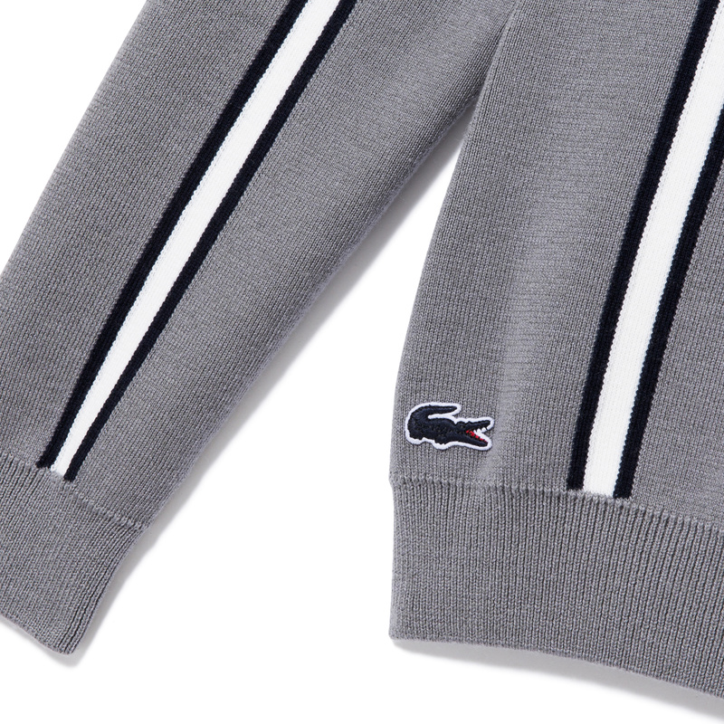 Lacoste Made in France Vertical Stripes Cotton and Wool Sweater AH9272: Grey