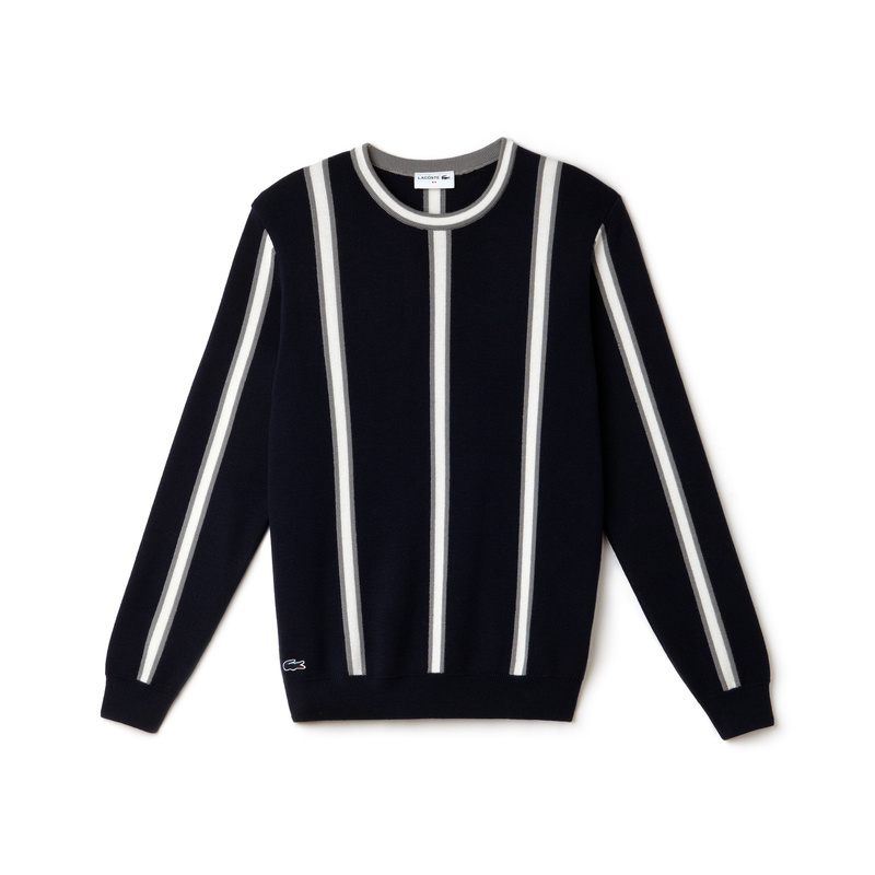 Lacoste Made in France Vertical Stripes Cotton and Wool Sweater AH9272: Blue