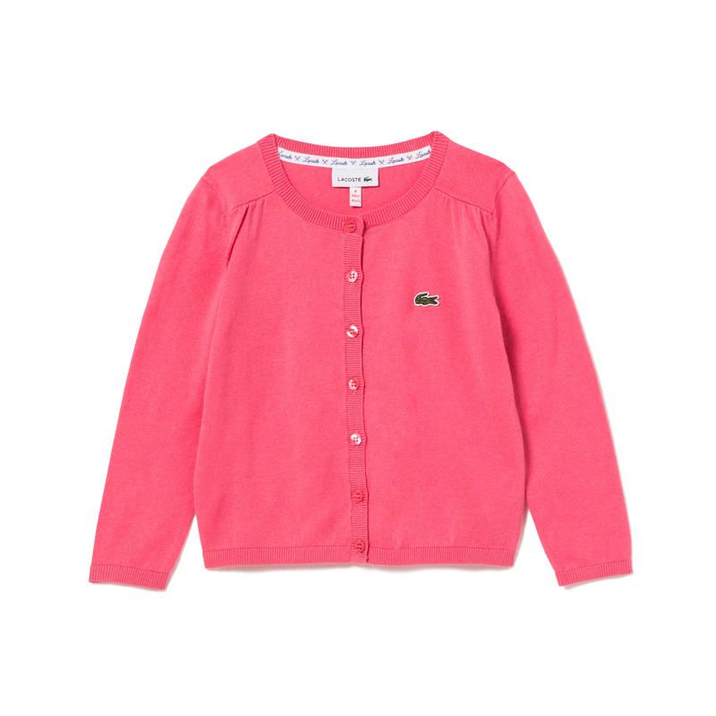 キッズ ラコステ GIRLS コットンウールカーディガン (長袖) ピンク