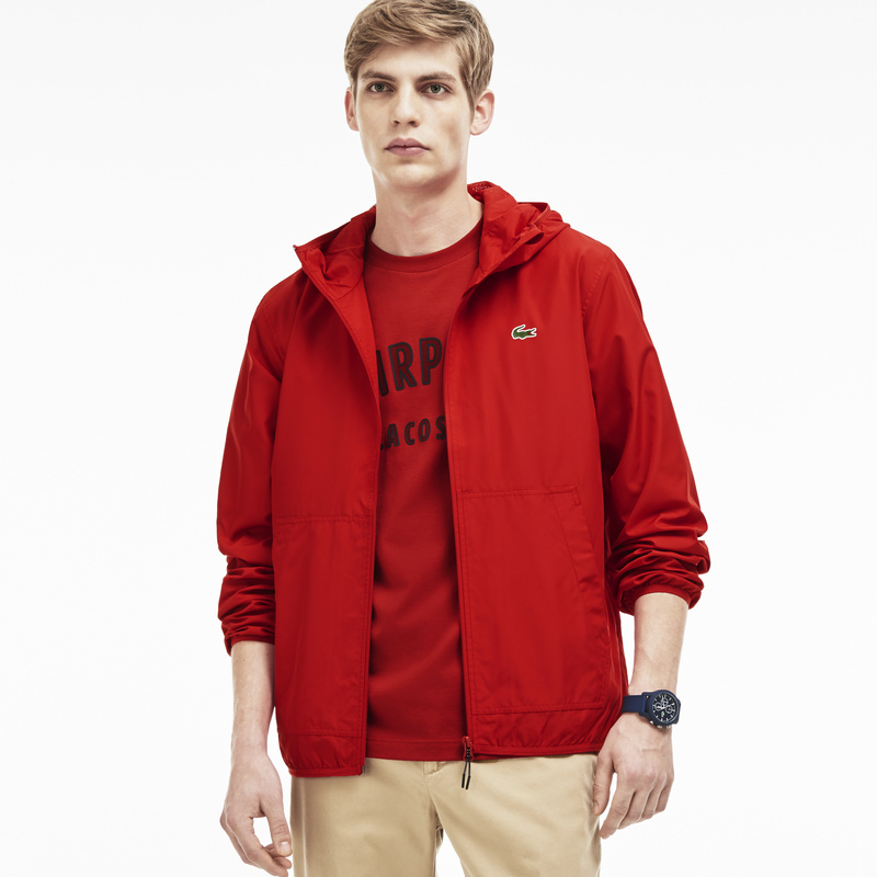 Lacoste Nylon Hooded Jacket BH5431: Red