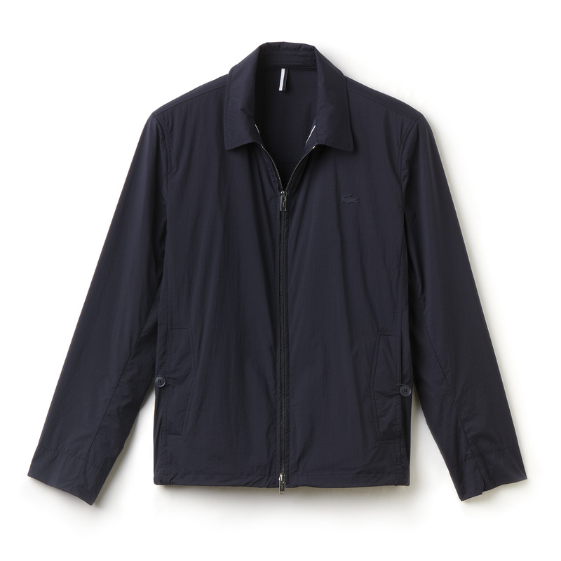 Lacoste Zippered Jacket in Nylon with Point Collar BH5443: Navy