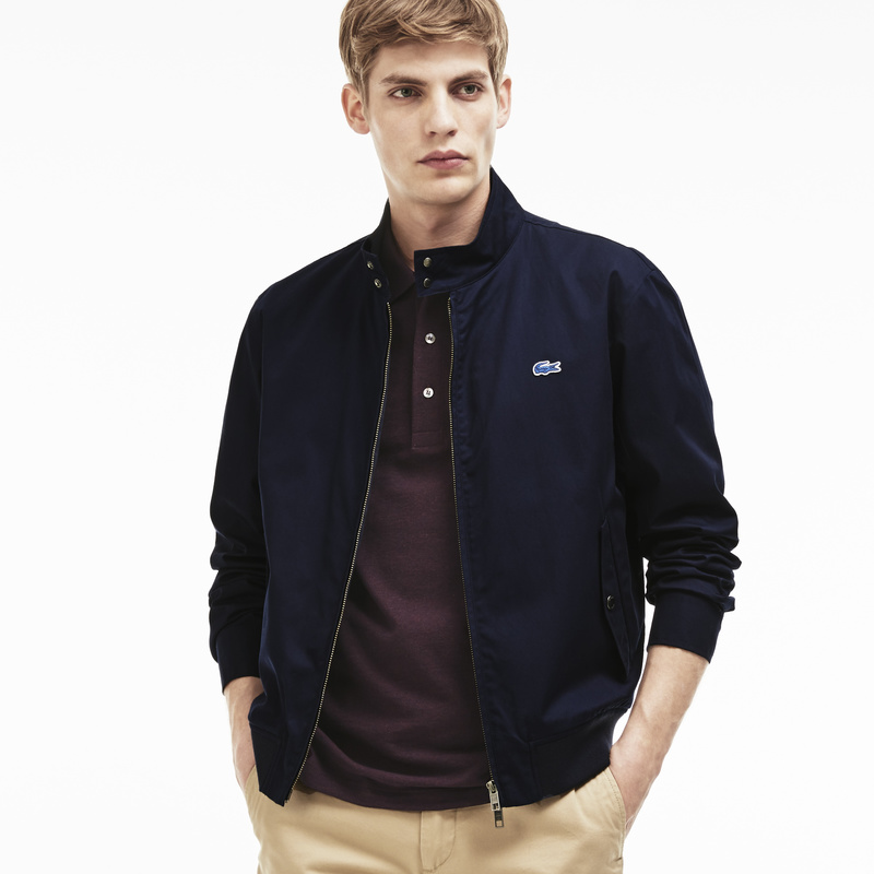Lacoste Zippered Harrington Jacket in Cotton Twill BH6255: Navy