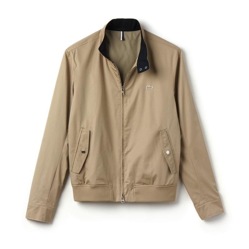 Lacoste Zippered Harrington Jacket in Cotton Twill BH6255: Beige