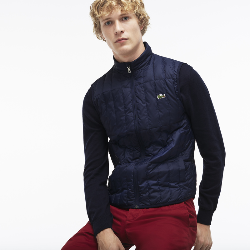 Lacoste Lightweight Built-in Hood Quilted Down Packable Vest BH7452: Navy Blue