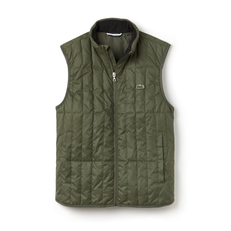 Lacoste Lightweight Built-in Hood Quilted Down Packable Vest BH7452: Summit Green