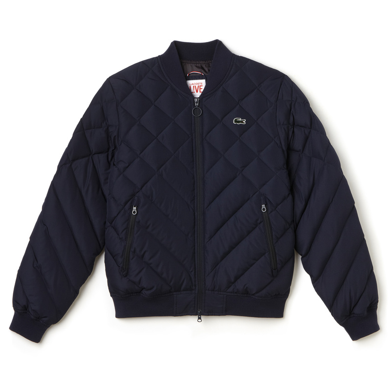 Lacoste L!ve Diamond Quilted Down Bomber Jacket BH9287: Navy