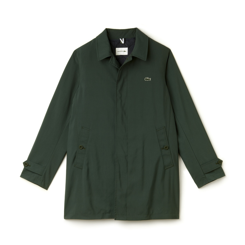 Lacoste Texured Nylon Overcoat BH9808: Kelp