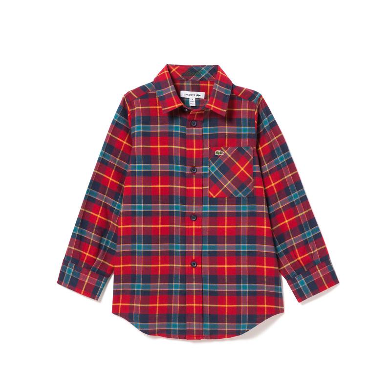 キッズ ラコステ BOYS マドラスフランネルシャツ (長袖) C50