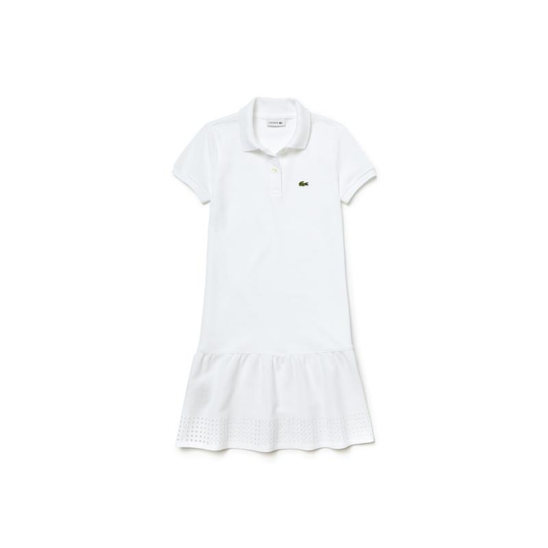 キッズ ラコステ Girls ワンピース (半袖) ホワイト