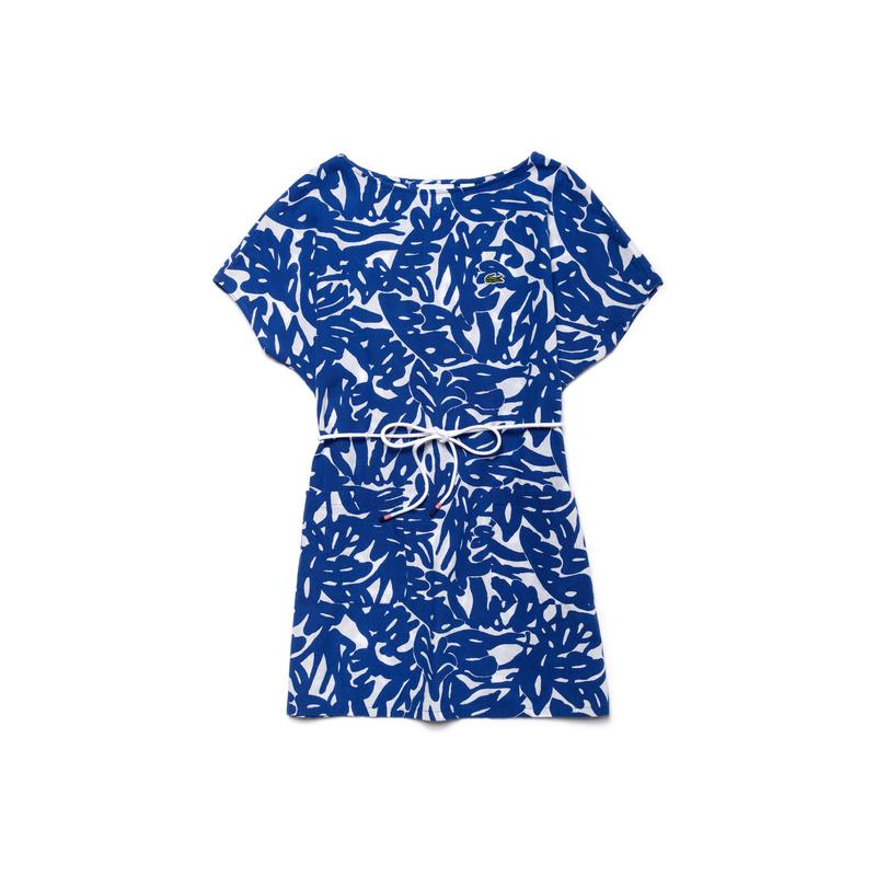 キッズ ラコステ GIRLS フローラルプリント ワンピース (半袖) ブルー