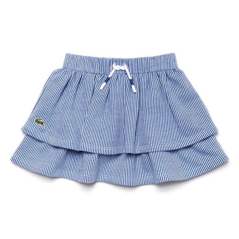 キッズ ラコステ GIRLS ストライプ スカート ブルー