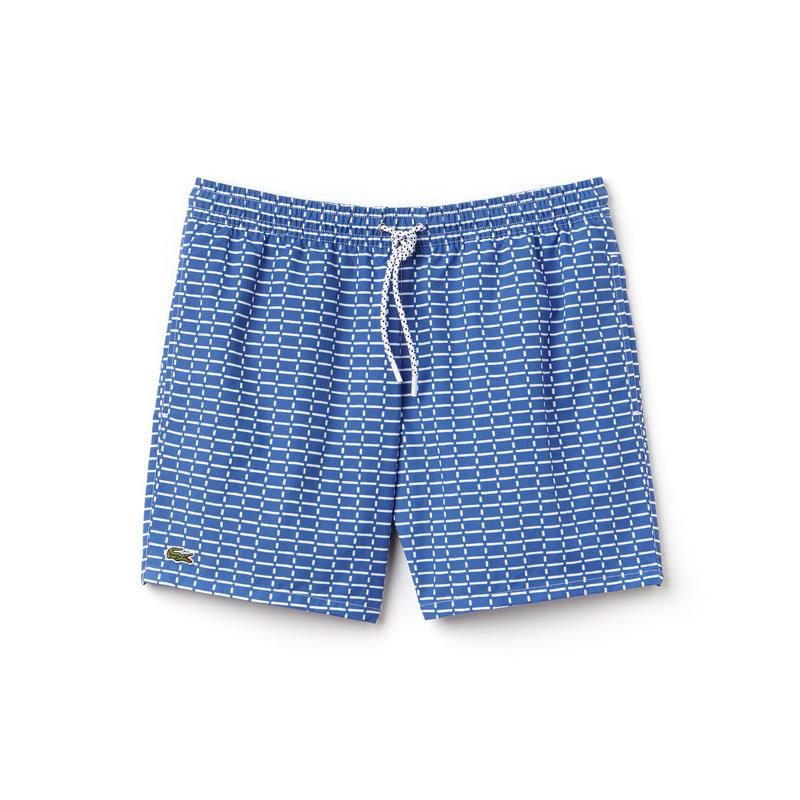 メンズ ラコステ テニスネット柄スイミングショーツ ブルー