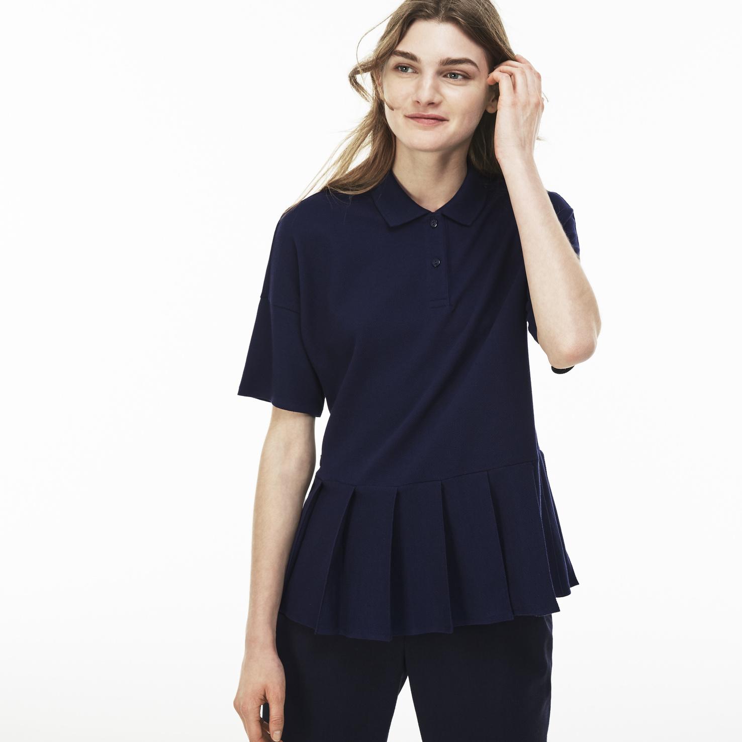 レディース ラコステ プリーツポロシャツ (半袖) ネイビー