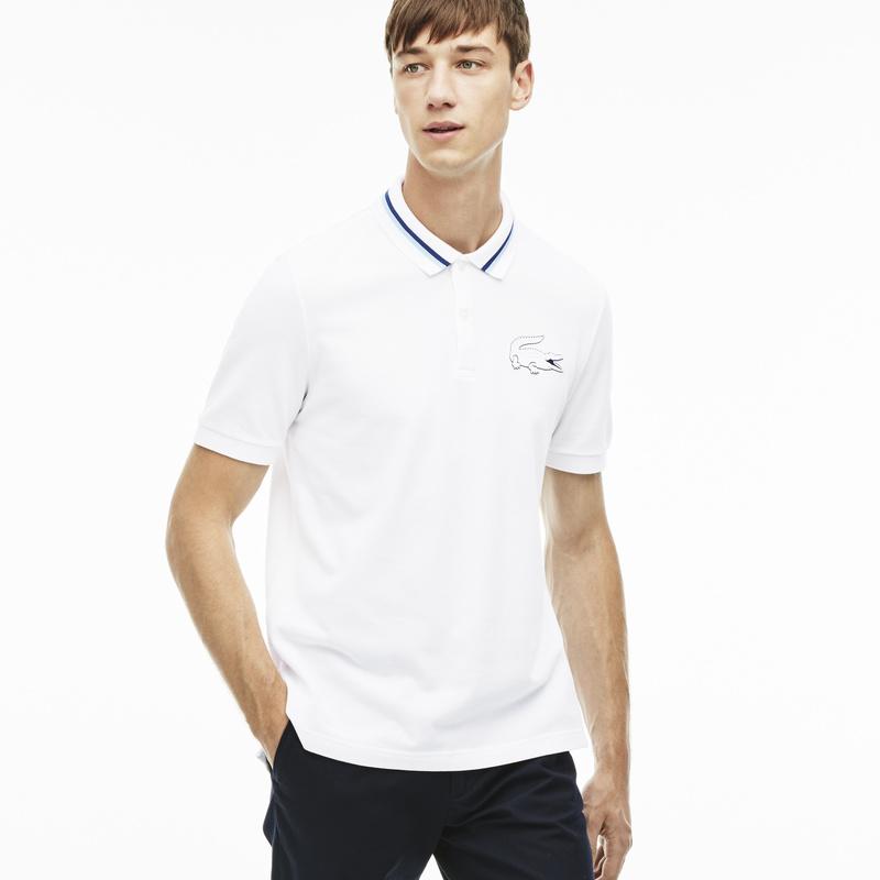 メンズ ラコステ コットン ポロシャツ (半袖) ホワイト