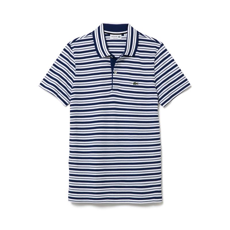 メンズ ラコステ ボーダーポロシャツ (半袖) ネイビー