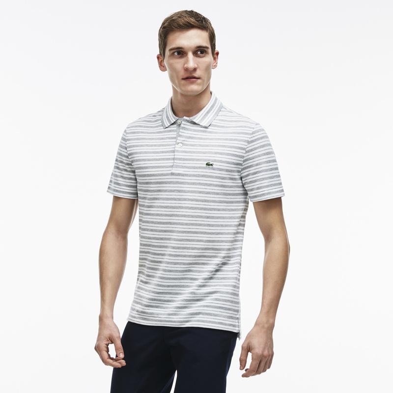 メンズ ラコステ ボーダーポロシャツ (半袖) グレー