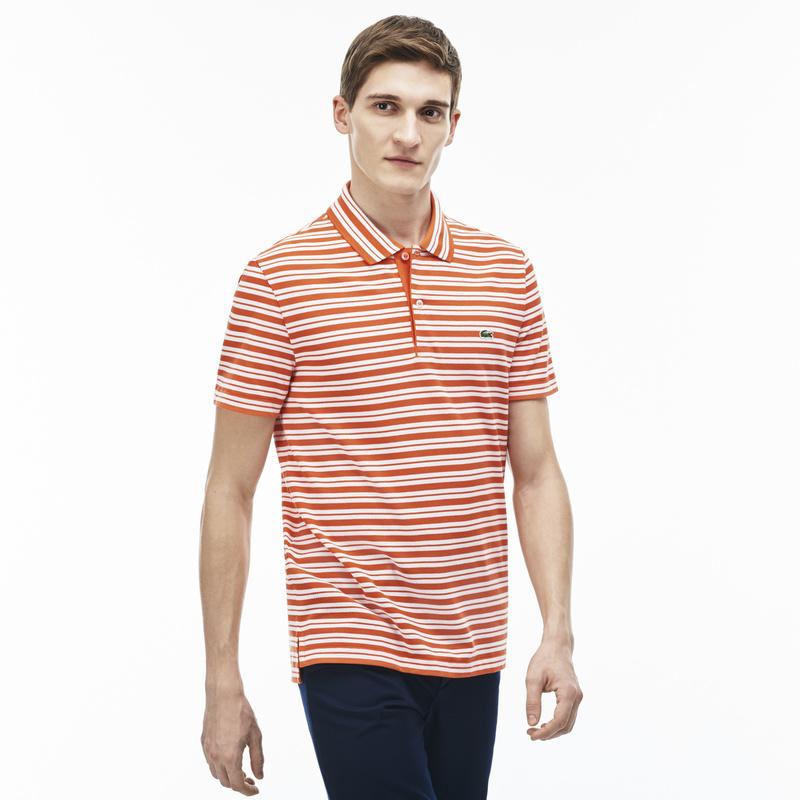 メンズ ラコステ ボーダーポロシャツ (半袖) オレンジ