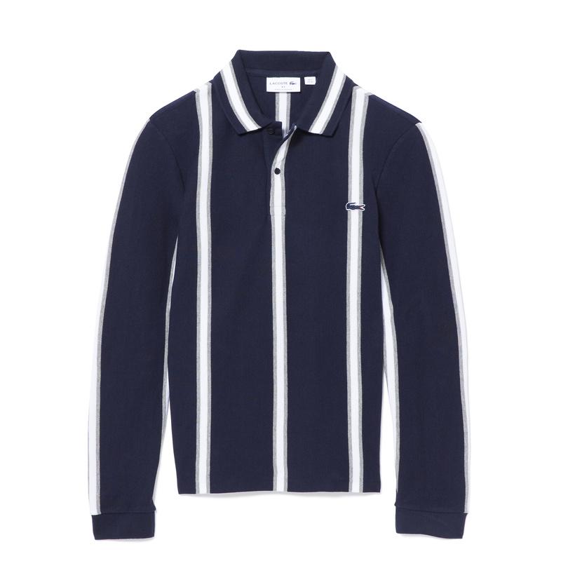 Made in France Vertical Stripe Heavy Pique Polo Shirt PH9013
