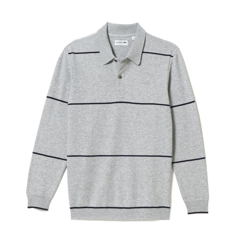 メンズ ラコステ ストライプ ポロシャツ ライトグレー
