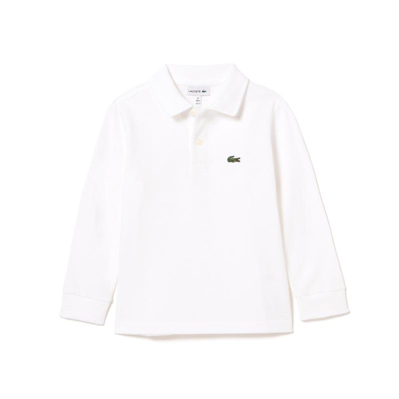 キッズ ラコステ BOYS プチピケポロシャツ (長袖) ホワイト