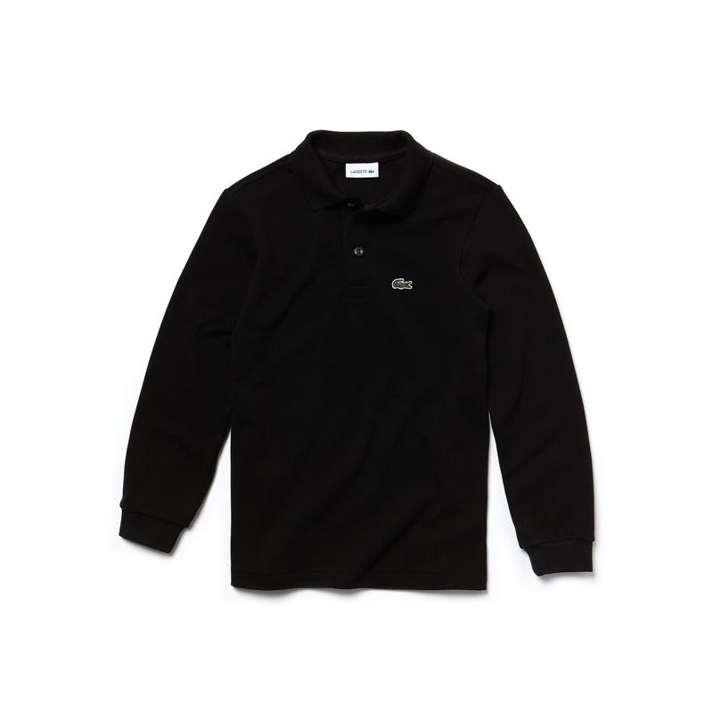 キッズ ラコステ BOYS プチピケポロシャツ (長袖) ブラック