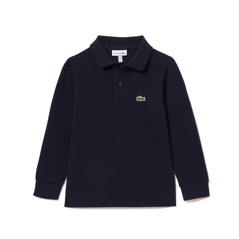 キッズ ラコステ BOYS プチピケポロシャツ (長袖) ネイビー