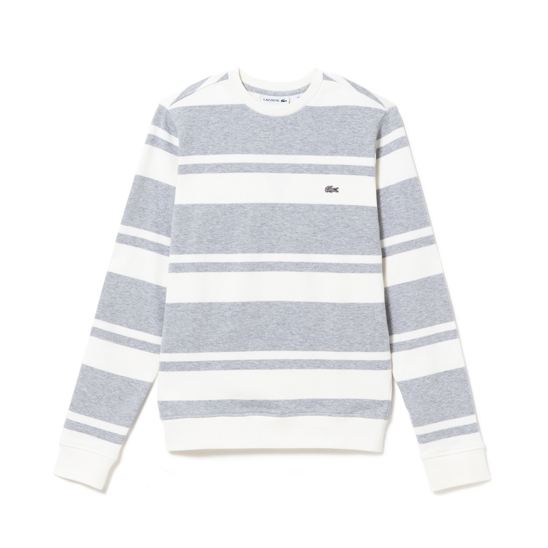 Lacoste Crew Neck Sweatshirt in Striped Flecked Fleece SH5417: 02U