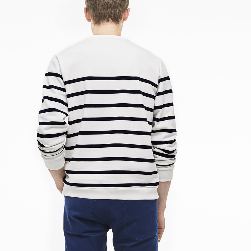 Lacoste Nautical Crew Neck Sweatshirt in Fleece SH6322: White