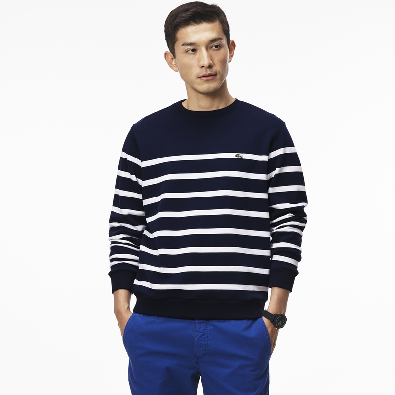 Lacoste Nautical Crew Neck Sweatshirt in Fleece SH6322: Navy Blue