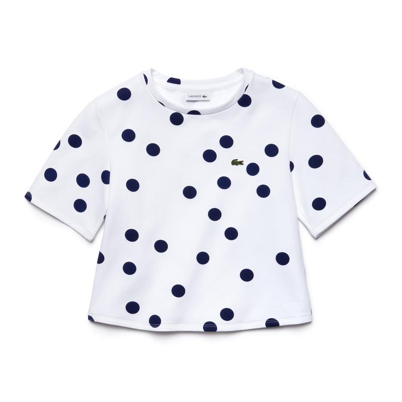キッズ ラコステ GIRLS 水玉模様 Tシャツ(半袖) ホワイト
